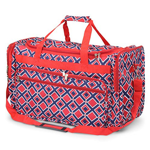 Zodaca Large Duffel Travel Bag, Navy/Red Times Square