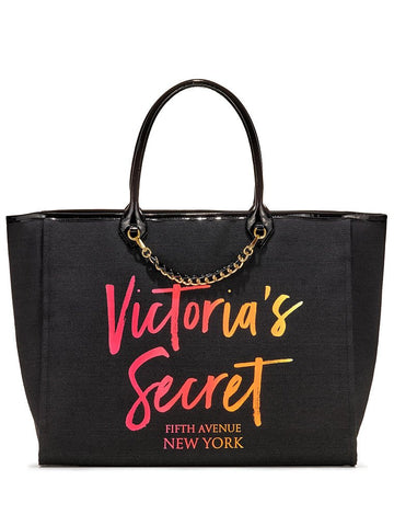 Victoria's Secret Angel City Tote, Black/Ombre Script