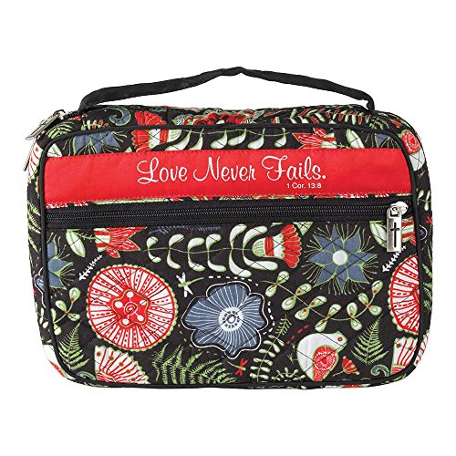 Love Never Fails Floral 7.5 x 10.5 Quilted Cotton Thinline Bible Cover Case