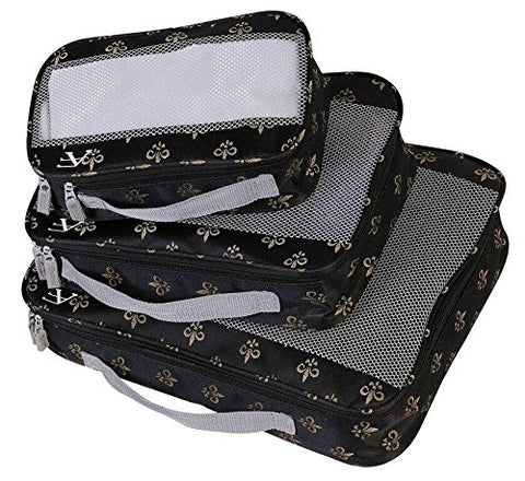 American Flyer Fleur De Lis 3 Piece Set Perfect Packing System, Black, One Size