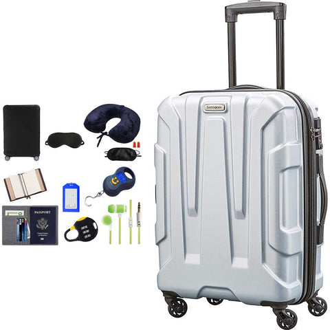 Samsonite 102689-1776 Centric Hardside 24 Inch Luggage - Silver Blue Bundle w/Deco Gear Luggage Accessory Kit (10 Item)