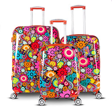 Gabbiano Floral 3 Piece Hardside Expandable Spinner Luggage Set (Retro Floral)
