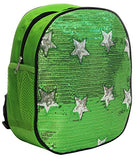 Dance Bag- Solid Sequin Front With Stars Backpack - Green