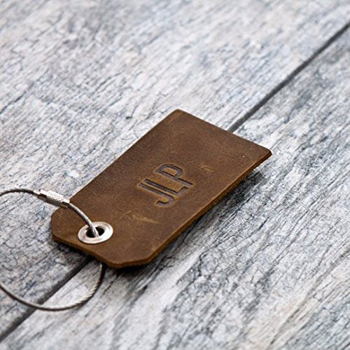 Personalized Custom Leather Luggage Tag (Rustic Brown)