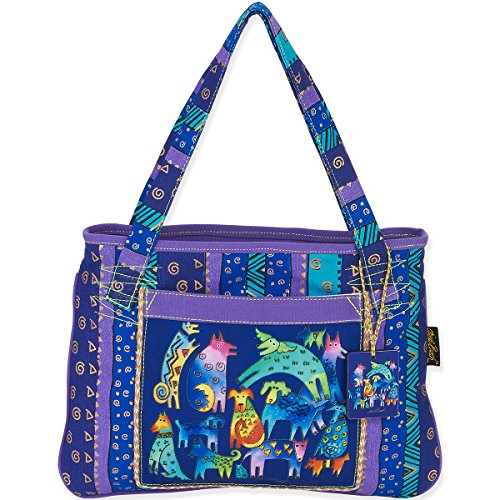 Laurel Burch Medium Tote, 15 by 11-Inch, Mythical Dogs