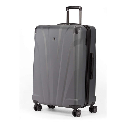 SWISSGEAR 7330 Hardside Spinner Luggage, Large Checked Suitcase - Dark Grey