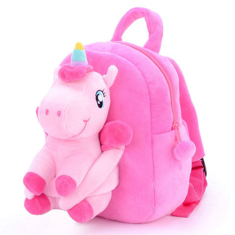 Gloveleya Unicorn Backpack for Girls Kids Backpack Plush Toy Gifts Removable Doll for Kids Baby Napkins Snack Brushes Bag Pink 9 Inches