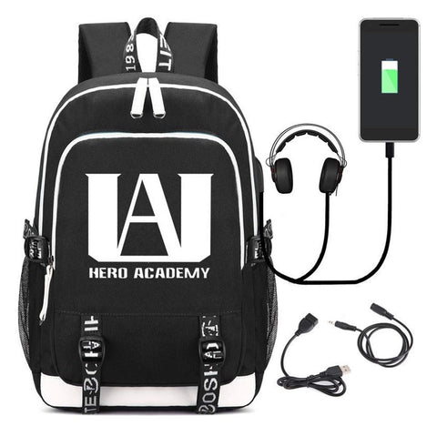 My Hero Academia College Bag Daypack Backpack Laptop with USB Charging Port