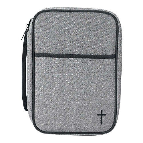 Black and Gray 7.5 x 9.5 Reinforced Polyester Thinline Bible Cover Case with Handle