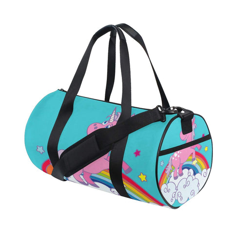 Unicorn On Rainbow Duffel Bag,Canvas Travel Bag for Gym Sports and Overnight