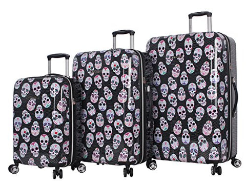 BETSEY JOHNSON Skull Party 3 Piece Expandable Hardside Spinner Luggage Set