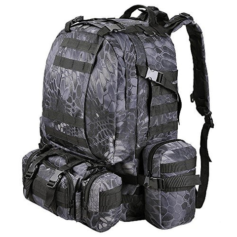 "Aw Black Pythons Grain Waterproof Camping Bag 23X19X5.5"" Backpack Military Tactical Travel Hike"