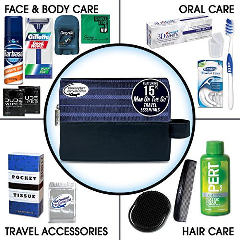 Convenience Kits International Men's Premium 15-Piece Assembled Travel Kit Featuring: Gillette and Barbasol Shave Products
