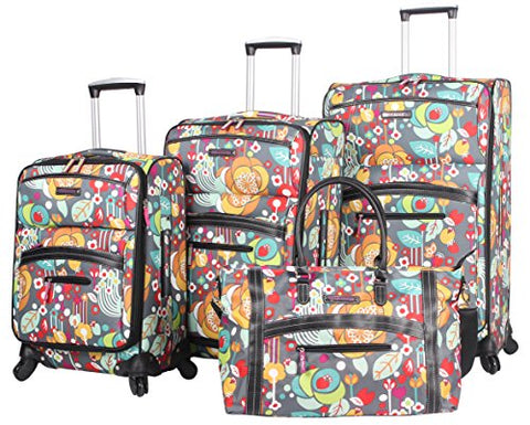 Lily Bloom Luggage 4 Piece Suitcase Collection With Spinner Wheels For Woman (Bliss)