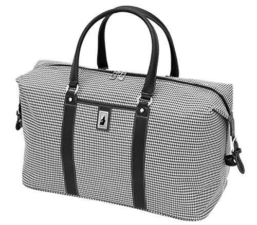 London Fog Cambridge 22 Inch Weekender, Black/White