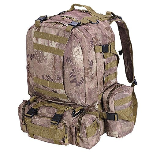 GHP 600D Oxford 420D Nylon 1640g Python Grain Backpack w 3 Detachable Molle Pouches