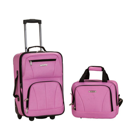 Rockland 2 PC LUGGAGE SET PINK