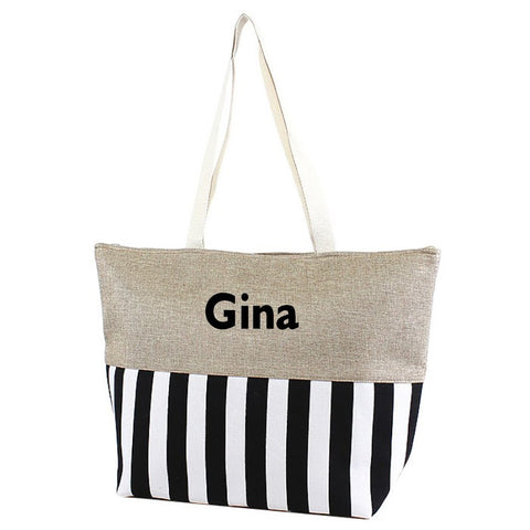 "Large Zipper Top Stripe Print Canvas Beach Bag Tote - 22""x14""x7"" (Personalized Black)"