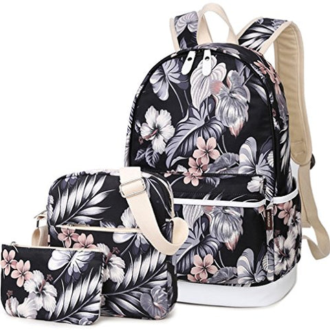 Hey Yoo Fashion High Capacity Canvas Backpack Set Cute Laptop School Bag for Teen Girls, Black