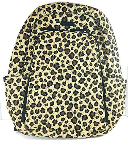 Vera Bradley Laptop Backpack (Updated Version) with Solid Color Interiors (Leopard with Black Interior)
