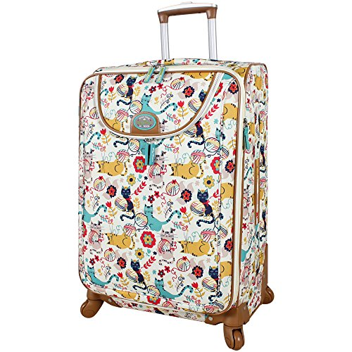Lily Bloom Luggage Large Expandable Design Pattern Suitcase With Spinner Wheels For Woman (28In,