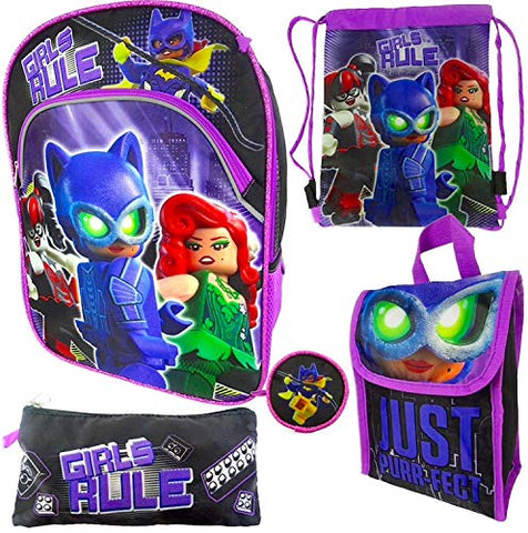 "The LEGO Batman Movie 5pc ""Girls Rule"" Backpack Value Set"