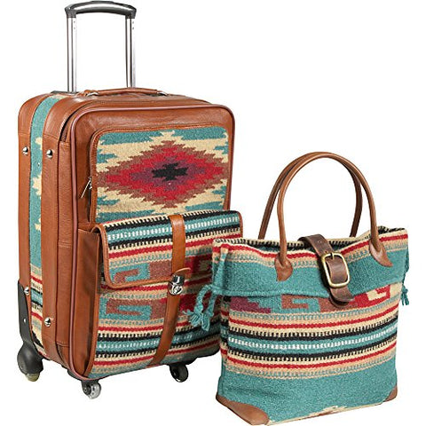 AmeriLeather Odyssey 2 Pc. Carry-On Set (Turquoise)