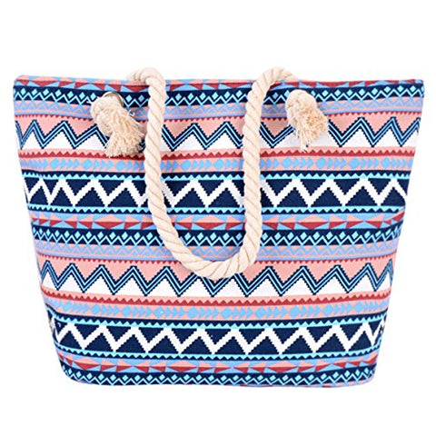 ABage Women's Canvas Tote Aztec Tribal Printed Shopping Travel Beach Shoulder Bag, Blue