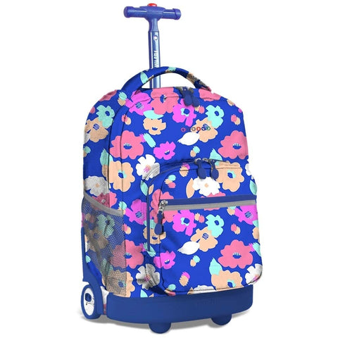 J World New York Sunrise 18-inch Rolling Backpack - Petals Purple Designer Print Polyester Checkpoint-Friendly Adjustable Strap Lined Water Resistant