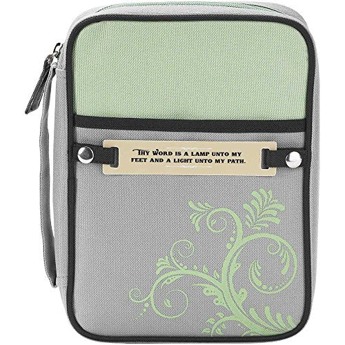 Gray and Green 8 x 11 inch Reinforced Polyester Bible Cover Case with Handle