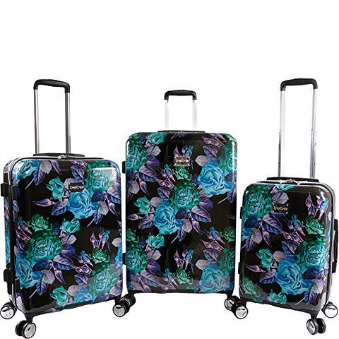 BeBe Women's Rosette 3 Piece Set Suitcase with Spinner Wheels, Black/Purple