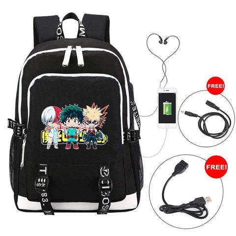 YOYOSHome Anime My Hero Academia Cosplay Bookbag Daypack Laptop Bag Backpack School Bag with USB Charging Port