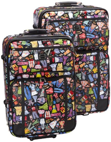 Sydney Love 2 Piece Rolling Luggage Set, Wardrobe Print,One Size