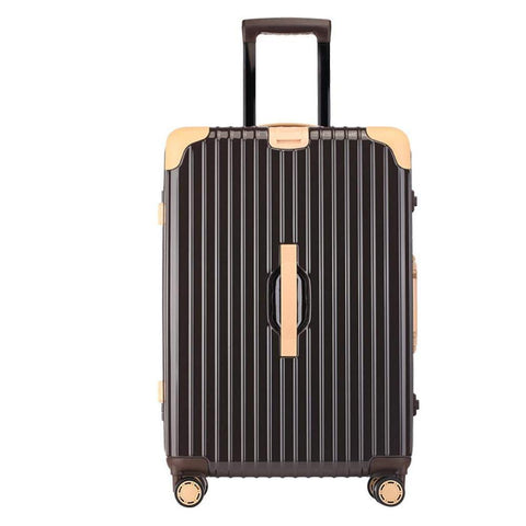 Suitcase, Aluminum Frame Trolley Case, Universal Wheel Luggage Code Suitcase High-Grade Aluminum Frame, Brown, 24 inche