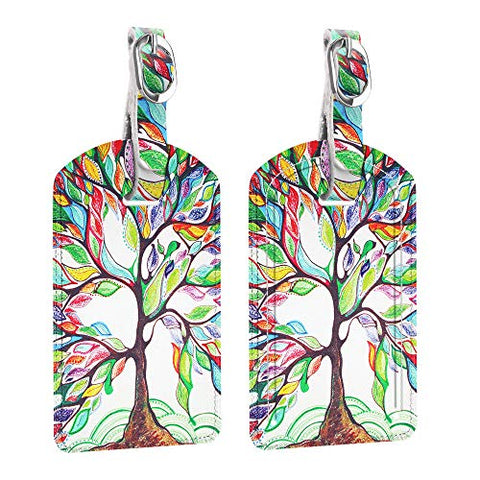 [2 Pack] Luggage Tags, Fintie Synthetic Leather Name ID Labels with Back Privacy Cover for Travel Bag Suitcase, Love Tree
