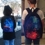 doginthehole 3D Funny Denim Printing Cats School Canvas Backpacks for Girls