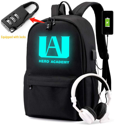 My Hero Luminous Backpack Academia Cosplay with USB Charging Port Bookbag Daypack (Password lock)