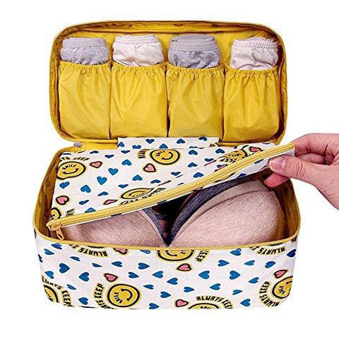 Damara Ladies Travel Bra Underwear Bag Organizers Portable Tidy Cosmetic Pocket,Yellow