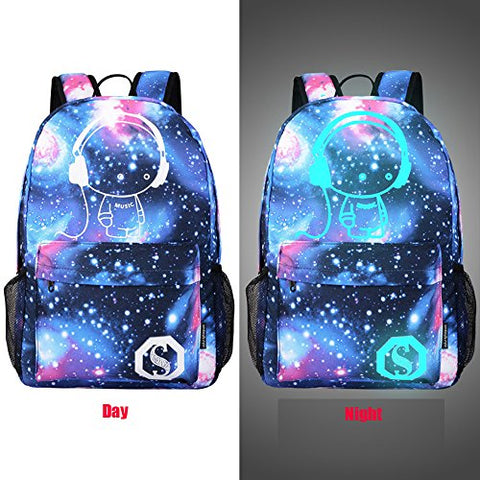 Unisex Teen Boys Girls Fashion Luminous Galaxy Personalized Backpack Teenagers School Bags Canvas