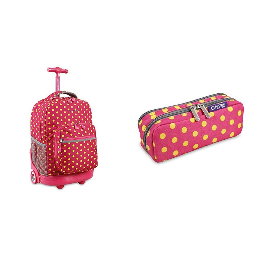 J World Combo Rolling Backpack & Pencil CaseBack to School Bundle Set Sunrise / Jojo, Pink Buttons