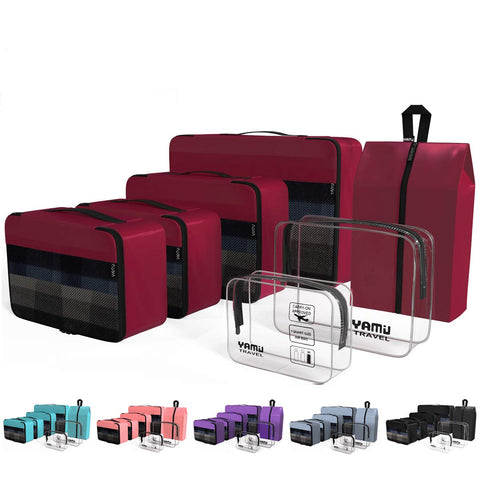 YAMIU Packing Cubes 7-Pcs Travel Organizer Accessories with Shoe Bag and 2 Toiletry Bags(Wine Red)