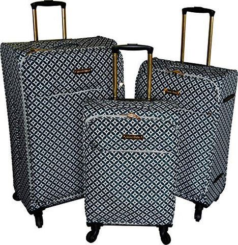 Jenni Chan Snow Flake Collection Lightweight 3-PC Spinner Luggage Set (Black)