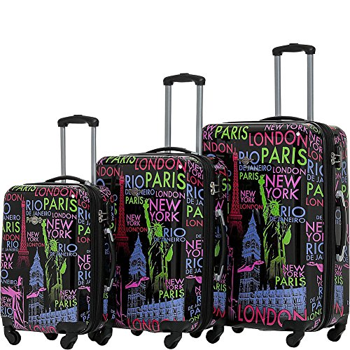 Rivolite Word 3 Piece Expandable Hardside Spinner Luggage Set (Word)