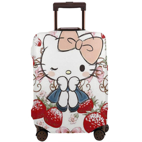 Travel Luggage Cover Hello Kitty With Delicious Strawberry Suitcase Protector Washable Baggage Covers 18-32 Inch