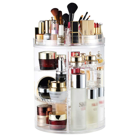 BNSDMM Cosmetic Storage Box Transparent Storage Rack 360 Degree Rotating Desktop Jewelry Storage Box Dressing Table Skin Care Products Rack