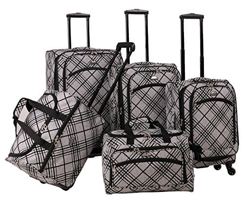 American Flyer Silver Stripes 5-Piece Spinner Luggage Set, Silver, One Size