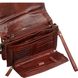 Mancini Leather Goods Buffalo Leather Unisex Bag with Front Organizer (Brown)
