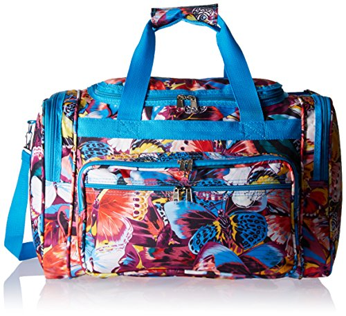 World Traveler Women's Value Series 19-inch Blue Butterfly Duffel Bag, Blue Trim Butterfly, One Size