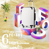 "COOLIFE Luggage Expandable(only 28"") Suitcase PC+ABS Spinner 20in 24in 28in Carry on (White Grid"