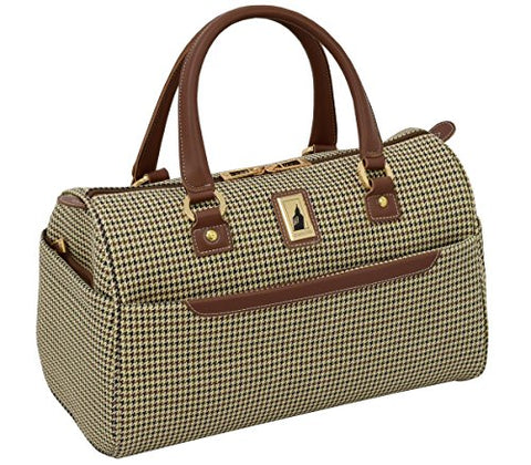 "London Fog Cambridge Ii 16"" Classic Satchel, Olive Houndstooth"